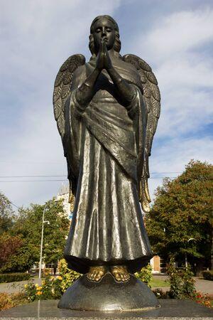 VOLGOGRAD, RUSSIA - October 14, 2015: The guardian angel of Volgograd, is established Voroshilovsky district, Sasha Filippovs park, Volgograd, Russia