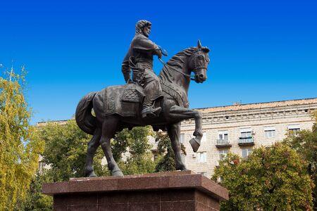 VOLGOGRAD, RUSSIA - October 19, 2015: the First Governor of the Volgograd zasyekin do on horseback. Volgograd, Russia Editorial