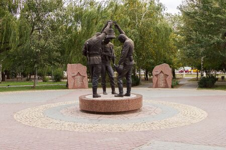 struggled: VOLGOGRAD, RUSSIA - May 09, 2015: The Monument dedicated to soldiers of Local wars in the Republic of Afghanistan, installed memorial Park, Volgograd, Russia