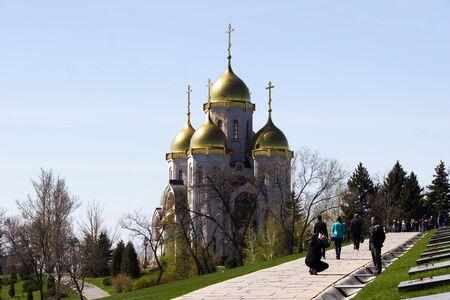 VOLGOGRAD, RUSSIA - April 26, 2015: Church of all saints. Volgograd. Installed Mamaev Kurgan, the Museum-preserve the battle of Stalingrad, Volgograd, Russia Editorial