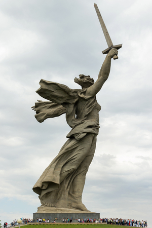 VOLGOGRAD, RUSSIA - May 10, 2015: a Monument to the woman-the mother calling for the protection of the Motherland from Nazi invaders. Installed Museum-reserve Stalingrad battle. Volgograd, Russia