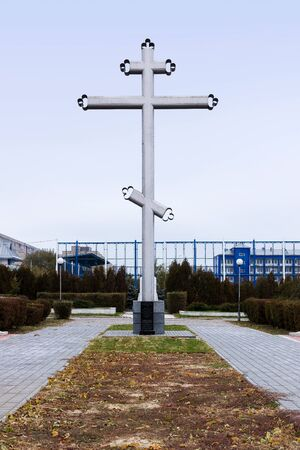 battle cross: VOLGOGRAD, RUSSIA - November 01, 2015: the Cross at the mass grave pogibshim the 138 soldiers of the Guards division in the battle of Stalingrad, the great Patriotic war. Volgograd, Russia Editorial