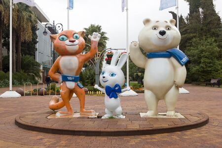 SOCHI, RUSSIA - November 08, 2015: Olympic Games 2014 symbols, polar bear, hare and leopard (snow leopard). Sochi, Russia