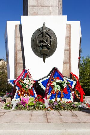troops: VOLGOGRAD, RUSSIA - May 10, 2015: the Monument is devoted to soldiers and officers of the NKVD troops and police officers died while defending Stalingrad. Volgograd, Russia Editorial