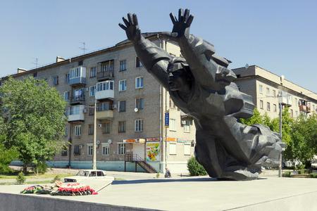 VOLGOGRAD, RUSSIA - June 14, 2015: The monument to the Soviet hero, soldier of World War II Mikhail Panikakhe, is established in krasnooktyabrsky the area, Metallurgov Avenue, Volgograd, Russia Editorial