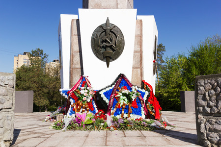 VOLGOGRAD, RUSSIA - May 10, 2015: the Monument is devoted to soldiers and officers of the NKVD troops and police officers died while defending Stalingrad. Volgograd, Russia Editorial