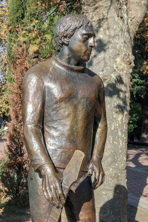 bard: SOCHI, RUSSIA - November 06, 2016: A monument to Vysotsky V. V. Ustanovlen near the Amusement park and Arts Square. Sochi, Russia