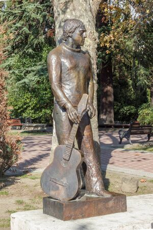 SOCHI, RUSSIA - November 06, 2016: Vysotsky - a monument. It is established near the Amusement park and Arts Square. Sochi, Russia
