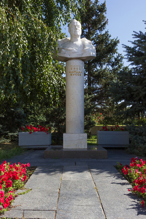 marshal: VOLGOGRAD, RUSSIA - August 04, 2015: the Bust of Marshal of Soviet Union Zhukov G. K.. Installed the Museum-panorama the battle of Stalingrad, Volgograd, Russia