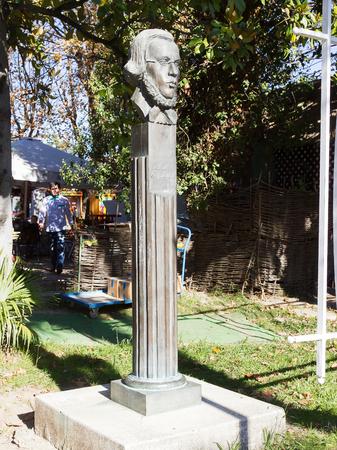 nikolay: SOCHI, RUSSIA - November 05, 2015: The bust to the Russian literary writer Dobrolyubov Nikolay Aleksandrovich, is established in park Riviera. Sochi, Russia Editorial