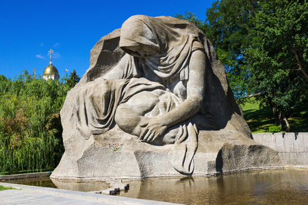 murdered: VOLGOGRAD, RUSSIA - July 12, 2015: the Monument to the grieving mother of murdered son-a soldier in the war. Installed Museum-reserve Stalingrad battle. Volgograd, Russia