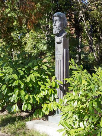 critic: SOCHI, RUSSIA - November 05, 2015: The monument, a bust, the head of the Russian literary critic Belinsky Vissarion Grigoryevich, is established in park Riviera. Sochi, Russia Editorial