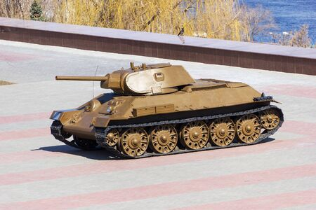 VOLGOGRAD, RUSSIA - April 12, 2015: T-34 Tank of world war II. Installed the Museum-panorama the battle of Stalingrad. Volgograd, Russia Editorial