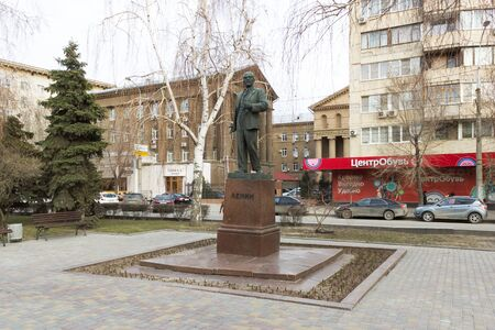 VOLGOGRAD, RUSSIA - April 07, 2015: the statesman of the Monument to V. I. Lenin was Installed Lenin Avenue, Volgograd, Russia