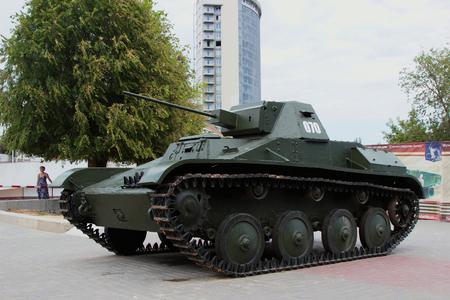 VOLGOGRAD, RUSSIA - August 04, 2015: Exhibit Soviet light tank T-60. Installed the Museum-panorama the battle of Stalingrad, Volgograd, Russia Editorial