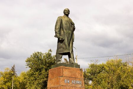 VOLGOGRAD, RUSSIA - October 11, 2015: the statesman of the Monument to V. I. Lenin Set the size of German Titov, Volgograd, Russia