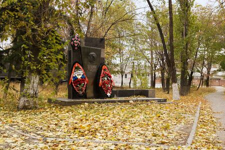 VOLGOGRAD, RUSSIA - November 01, 2015: Monument tomb on the first woman, a steelmaker working at the Red October factory. Volgograd, Russia