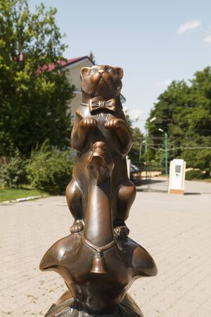 TAGANROG, RUSSIA - June 23, 2016: A monument to heroes of stories of Chekhov in the form of a dog lifted a paw. Taganrog, Russia Editorial