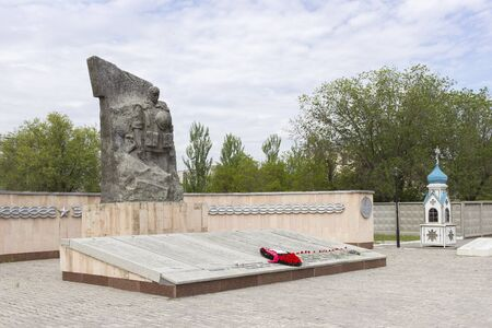 stele: VOLGOGRAD, RUSSIA - May 08, 2016: A monument to the soldiers of the Volgograd garrison who have been killed in battles in the territory of Chechnya. Zhukov Ave., Volgograd, Russia