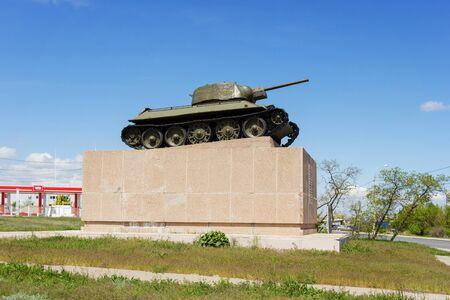 VOLGOGRAD, RUSSIA - May 04, 2016: A monument the Chelyabinsk collective farmer, the T-34 tank, in a profile. Zemlyachki Street, Volgograd, Russia Editorial