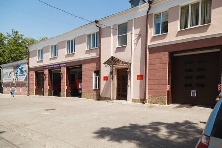 fire extinguishing: TAGANROG, RUSSIA - June 23, 2016: A building of a fire brigade with garage and special cars for fire extinguishing, fire, inside. Taganrog, Russia Editorial