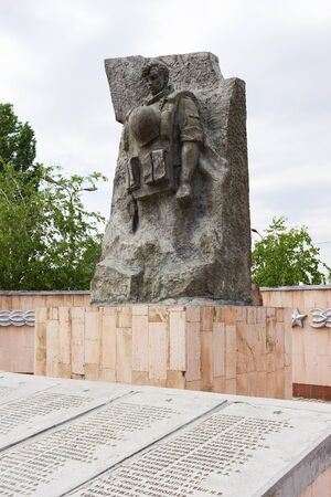 VOLGOGRAD, RUSSIA - May 08, 2016: A monument to the soldiers of the Volgograd garrison who have been killed in battles in the territory of Chechnya. Zhukov Ave., Volgograd, Russia