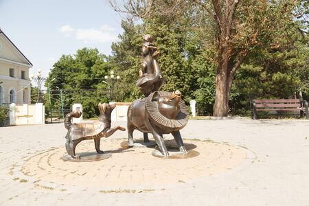 TAGANROG, RUSSIA - June 23, 2016: A monument to heroes of stories of Chekhov in the form of a dog, a pig, a goose and a cat. Taganrog, Russia