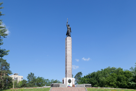 seconda guerra mondiale: VOLGOGRAD, RUSSIA - June 08, 2016: A monument to Security officers, at Dzerzhinsky Square. Volgograd, Russia
