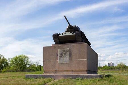 VOLGOGRAD, RUSSIA - May 04, 2016: Monument Chelyabinsk collective farmer, T-34 tank. Zemlyachki Street, Volgograd, Russia