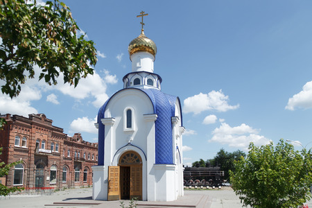 sake: TAGANROG, RUSSIA - June 24, 2016: The chapel for the sake of the Kazan icon of the Mother of God, is established in the city of Taganrog, Russia