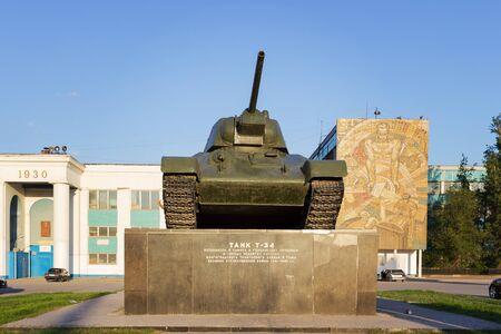 VOLGOGRAD, RUSSIA - May 04, 2016: The Soviet T-34 Tank at Dzerzhinsky Square, a look in a fullface. Volgograd, Russia