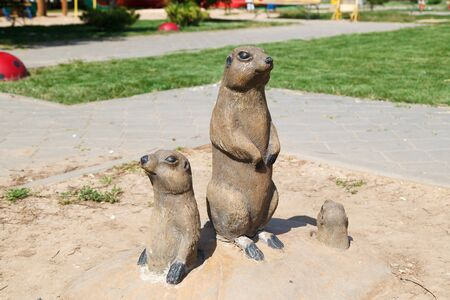 animal figurines: VOLZHSKY, RUSSIA - July 30, 2016: A monument to Gophers in the city of Volzhsky