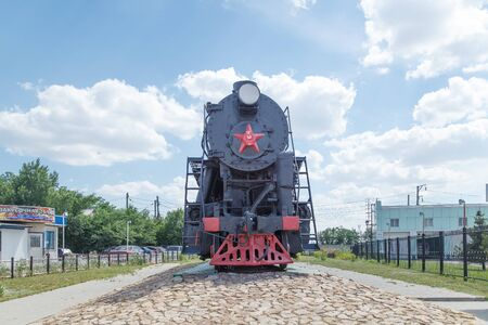 medios de transporte: VOLGOGRAD, RUSSIA - June 24, 2016: Old, ancient Engine Victory (Lebedyanka, Lebed) of the voroshilogradky plant him. October revolution. It is established at entry into the city of Volgograd, Russia