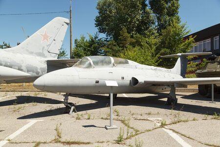 constant: VOLGOGRAD, RUSSIA - July 06, 2016: Jet L-29 plane. Constant exhibition of military equipment. Museum Mamayev Kurgan, Volgograd, Russia