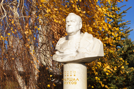 VOLGOGRAD, ROSSSIYa - November 11, 2016: Monument, bust to the marshal of the Great Patriotic War Zhukov Georgy Konstantinovich. It is established near the Museum panorama Battle of Stalingrad Editorial