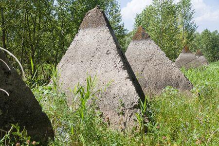 volgograd: VOLGOGRAD, RUSSIA - July 30, 2016: The Volga, Volgograd construction pyramids, are established in a ravine about the Volga River, at entry into the city of Volgograd