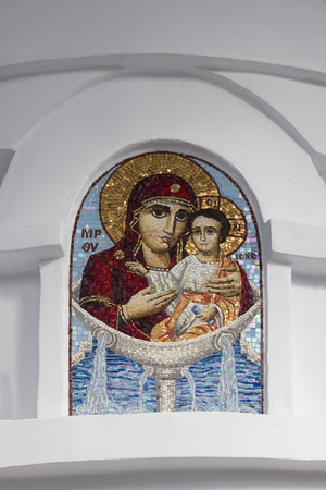 SOCHI, RUSSIA - November 06, 2015: The icon of the Mother of God in Iverskayas baptistery, is established in Sacredly Mikhaylo Archangels Cathedral. Sochi, Russia Editorial