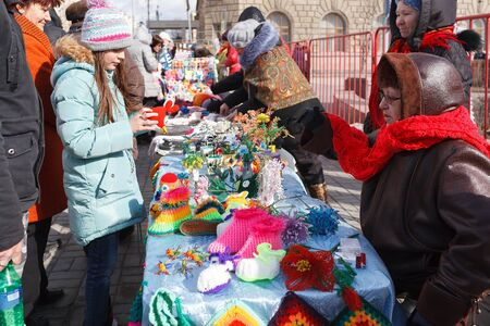 VOLGOGRAD, RUSSIA - February 26, 2017: Sales of products on the street in day of Maslenitsa on the area of the fallen Fighters Editorial
