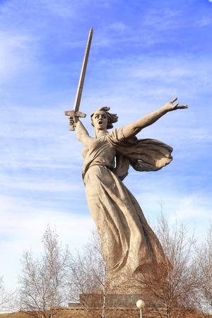VOLGOGRAD, RUSSIA - April 08, 2017: A monument the Motherland calls! In honor of a victory in the Great Patriotic War (World War II). Volgograd, Russia is established on Mamayev Kurgan Editorial
