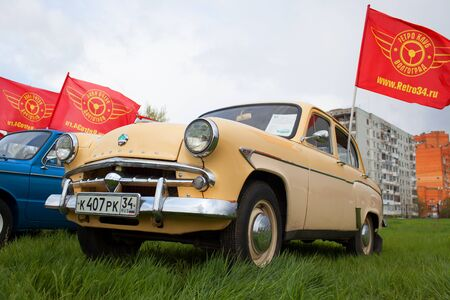 VOLGOGRAD, RUSSIA - April 22, 2017: An exhibition of the Soviet retro of cars, stand вряд on the city street