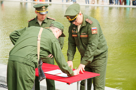 VOLGOGRAD, RUSSIA - May 28, 2017: The young serviceman of soldiers of the Russian army takes the oath to the Homeland of Russia, in the territory Mamayev Kurgan, Volgograd