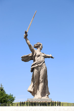 VOLGOGRAD, RUSSIA - May 28, 2017: A monument to the Great Patriotic War, World War II the Motherland calls! with soldiers and the military personnel of the Russian army about her, in the territory Mamayev Kurgan, in the summer in the afternoon Editorial