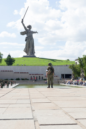 VOLGOGRAD, RUSSIA - June 15, 2017: A monument to soldiers of the Great Patriotic War the Motherland calls! in a frame in the territory of the museum Mamayev Kurgan