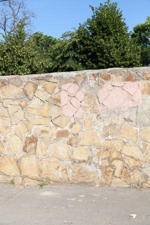 Teksturna of a stone wall close up