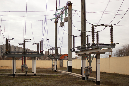 VOLGOGRAD, RUSSIA - November 29, 201: The power electric equipment of the lowering substation of 110 kV