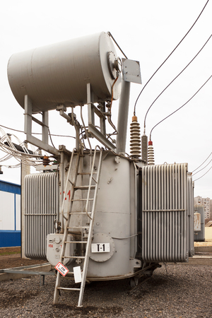 VOLGOGRAD, RUSSIA - November 29, 201: The power transformer 110 of kV of the lowering substation of 110 kV