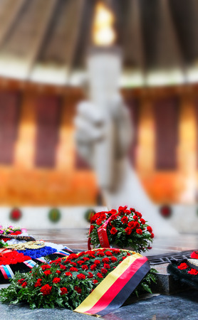 VOLGOGRAD, RUSSIA - May 9, 2018: A wreath on a grave to the soldiers who have died советскм with the German, German flag and an inscription in the Museum Battle of Stalingrad