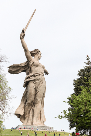 VOLGOGRAD, RUSSIA - May 9, 2018: A monument the Motherland calls! - the woman holds are lifted a sword, in the museum Battle of Stalingrad on Mamayev Kurgan up