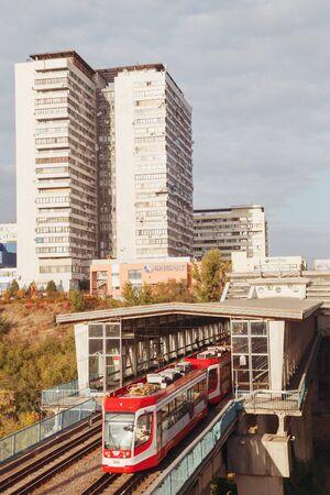 VOLGOGRAD, RUSSIA - 9 October, 2018: The modern city tram in the city of Volgograd