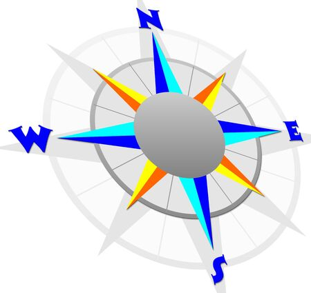 Compass with white background, computer generated illustration